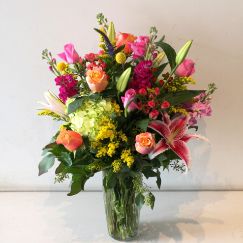 Sweet blossoms hawaii large spring mix arrangement south american roses spray roses hydrangea lilies berries and other mixed foliage colors and flowers in actual mightylinksfo
